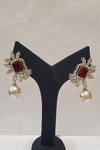 Silver Finish Faux Diamond Earrings by Moh-Maya By Disha Khatri