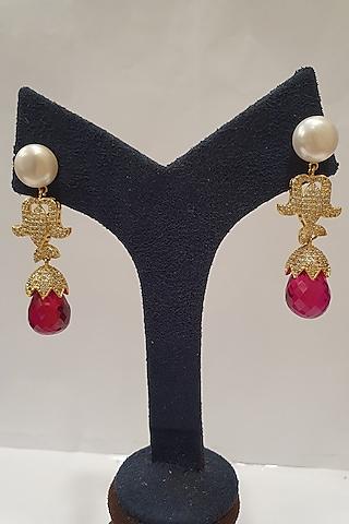 Gold Finish Pearls Earrings by Moh-Maya By Disha Khatri