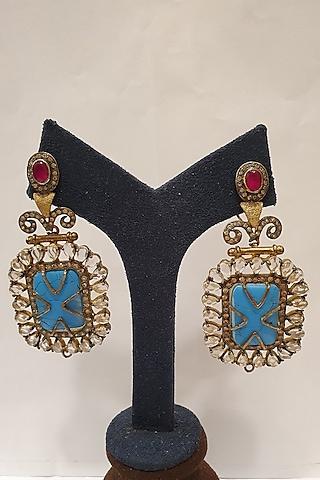 Gold Finish Aqua Blue Stone Earrings by Moh-Maya By Disha Khatri