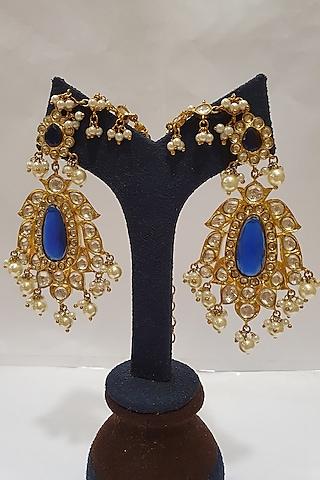 Gold Finish Kundan Earrings by Moh-Maya By Disha Khatri