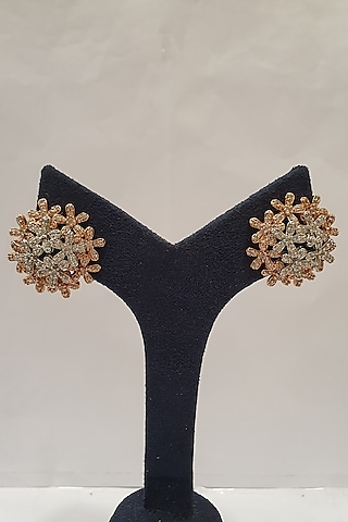 Silver Finish Stud Earrings by Moh-Maya By Disha Khatri
