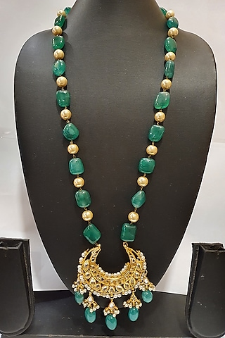 Gold Finish Emerald Necklace by Moh-Maya By Disha Khatri