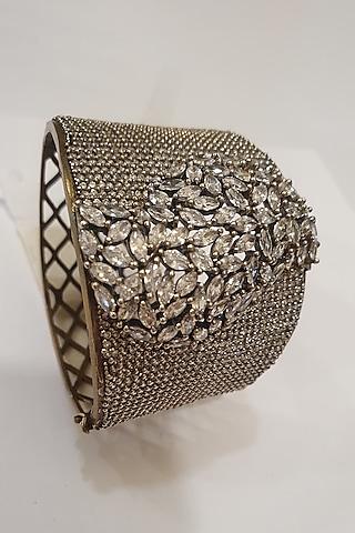 Silver Finish Faux Diamond Bracelet by Moh-Maya By Disha Khatri