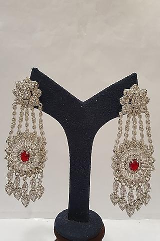 Silver Finish Red Stone Earrings by Moh-Maya By Disha Khatri