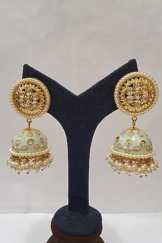 Gold Finish Meenakari Jhumka Earrings by Moh-Maya By Disha Khatri