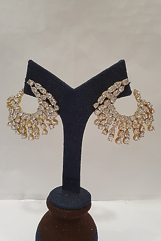 Gold Finish Diamond Earrings by Moh-Maya By Disha Khatri