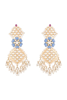 Gold Finish Light Blue Meenakari Kundan & Pearl Long Earrings by Moh-Maya by Disha Khatri