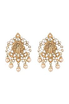 Gold Finish Kundan & Pearl Peacock Earrings by Moh-Maya by Disha Khatri