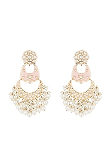 Gold Finish Light Pink Meenakari Kundan & Pearl Long Earrings by Moh-Maya by Disha Khatri