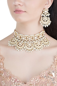Gold Finish Meenakari Kundan & Pearl Choker Necklace Set by Moh-Maya by Disha Khatri