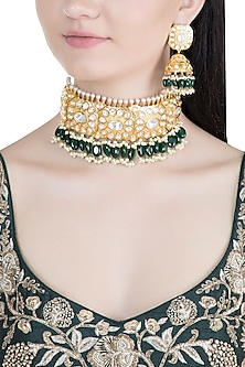 Gold Finish Emerald & Polki Kundan Choker Necklace Set by Moh-Maya by Disha Khatri