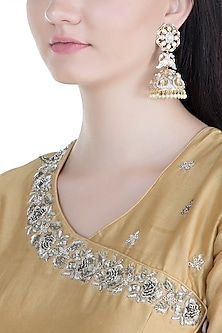 Gold Finish Kundan & Stone Long Jhumka Earrings by Moh-Maya by Disha Khatri