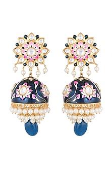 Gold Finish Blue Meenakari Long Jhumka Earrings by Moh-Maya by Disha Khatri