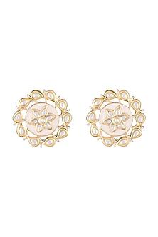 Gold Finish Light Pink Meenakari Stud Earrings by Moh-Maya by Disha Khatri