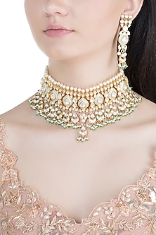 Gold Finish Light Mint Meenakari Kundan & Pearl Choker Necklace Set by Moh-Maya by Disha Khatri