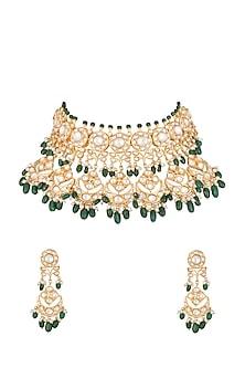 Gold Finish Emerald, Kundan & Pearl Choker Necklace Set by Moh-Maya by Disha Khatri