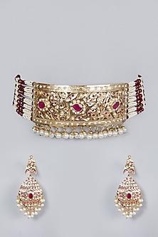 Gold Finish Ruby Choker Necklace Set by Moh-Maya by Disha Khatri-POPULAR PRODUCTS AT STORE