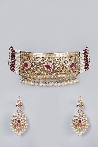 Gold Finish Ruby Choker Necklace Set by Moh-Maya by Disha Khatri