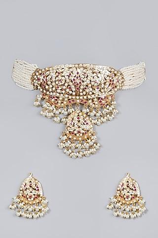 Gold Finish Ruby & Pearl Choker Necklace Set by Moh-Maya by Disha Khatri