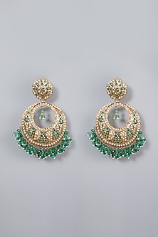 Gold Finish Emerald Chandbali Earrings by Moh-Maya by Disha Khatri-POPULAR PRODUCTS AT STORE