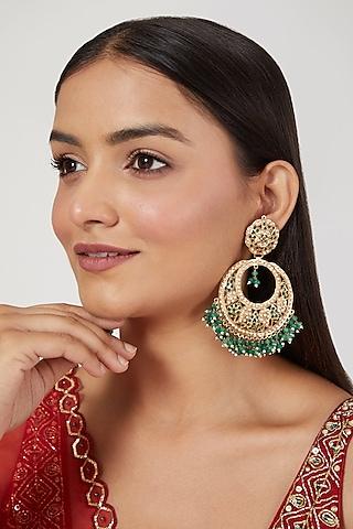 Gold Finish Emerald Chandbali Earrings by Moh-Maya by Disha Khatri