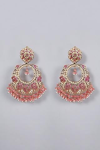 Gold Finish Ruby Chandbali Earrings by Moh-Maya by Disha Khatri
