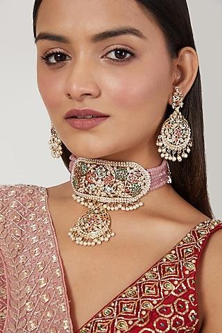 Gold Finish Multi Colored Jadau & Pearl Choker Necklace Set by Moh-Maya by Disha Khatri