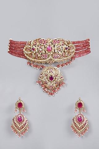 Gold Finish Pink Jadau Choker Necklace Set by Moh-Maya by Disha Khatri