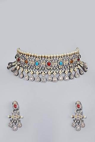 Gold Finish Kundan Polki Choker Necklace Set by Moh-Maya by Disha Khatri