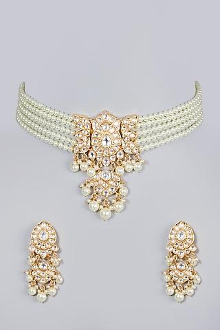 Gold Finish Kundan Polki & Pearls Choker Necklace Set by Moh-Maya by Disha Khatri
