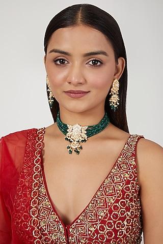 Gold Finish Emerald Beaded Choker Necklace Set by Moh-Maya by Disha Khatri