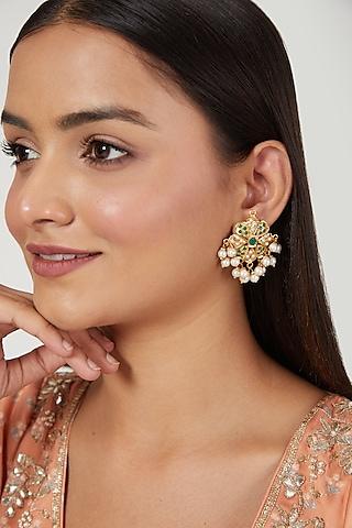 Gold Finish Multi Colored Jadau & Pearl Earrings by Moh-Maya by Disha Khatri