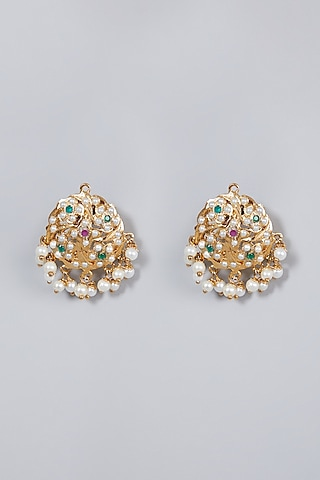 Gold Finish Pearl Earrings by Moh-Maya by Disha Khatri