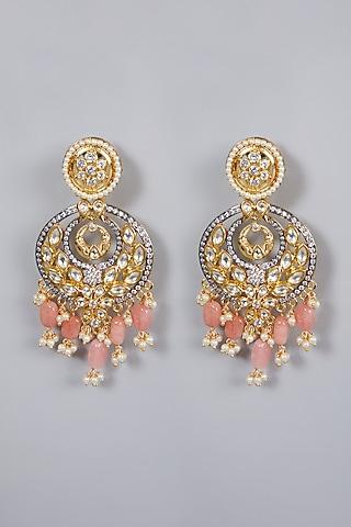 Gold Finish Kundan Polki & Diamond Earrings by Moh-Maya by Disha Khatri