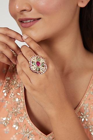 Gold Finish Multi Colored Jadau Adjustable Ring by Moh-Maya by Disha Khatri