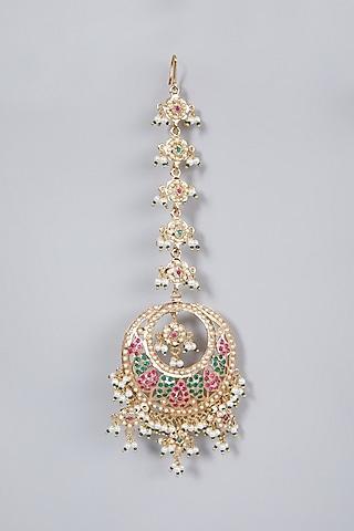 Gold Finish Pearl Maang Tikka by Moh-Maya by Disha Khatri