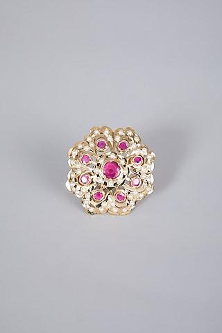 Gold Finish Ruby Adjustable Ring by Moh-Maya by Disha Khatri
