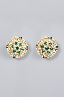 Gold Finish Emerald Stud Earrings by Moh-Maya by Disha Khatri-POPULAR PRODUCTS AT STORE