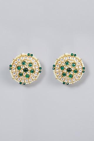 Gold Finish Emerald Stud Earrings by Moh-Maya by Disha Khatri