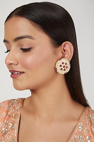 Gold Finish Kundan Polki & Ruby Earrings by Moh-Maya by Disha Khatri