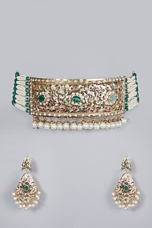 Gold Finish Emerald & Pearl Choker Necklace Set by Moh-Maya by Disha Khatri-POPULAR PRODUCTS AT STORE