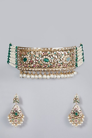 Gold Finish Emerald & Pearl Choker Necklace Set by Moh-Maya by Disha Khatri