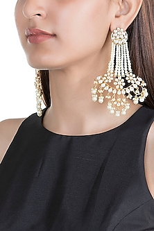 Gold Finish Kundan & Pearl Long Earrings by Moh-Maya by Disha Khatri