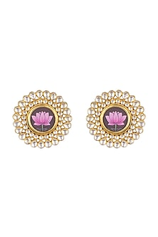 Gold Finish Kundan Lotus Stud Earrings by Moh-Maya by Disha Khatri