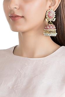 Gold Finish Kundan & Pearl Jhumka Earrings by Moh-Maya by Disha Khatri