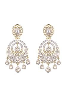 Gold Finish Kundan Chandbali Earrings by Moh-Maya by Disha Khatri