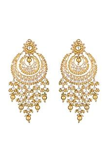 Gold Finish Kundan & Pearl Chandbali Earrings by Moh-Maya by Disha Khatri