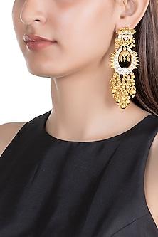 Gold Finish Kundan Long Earrings by Moh-Maya by Disha Khatri