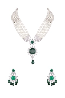 Gold Finish Emerald & Pearl Necklace Set by Moh-Maya by Disha Khatri