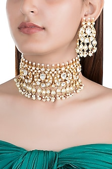 Gold Finish Kundan & Pearl Choker Necklace Set by Moh-Maya by Disha Khatri